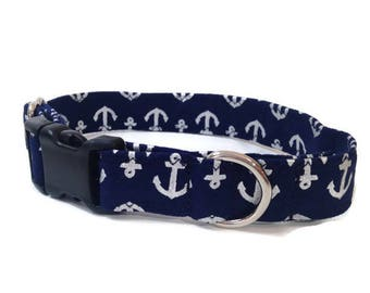 Navy and Silver Anchors Dog collar, Nautical dog collar, Navy anchor dog collar, preppy dog collar, vineyard vines,  small dog collar