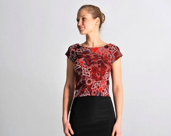 CARMEN top in red floral print - sizes XS/S/M