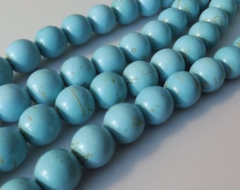 "Natural 12mm Round Turquoise (Dyed) Magnesite Beads (15"" Strand)"