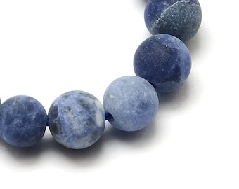 """Blue Frosted 8mm Round Natural Sodalite Gemstone Beads (15"""" Strand)"""