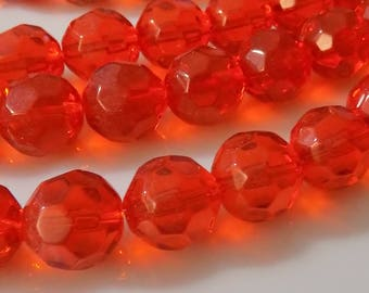 """Strawberry Red 12mm Faceted Round Glass Beads (13"""" Strand)"""