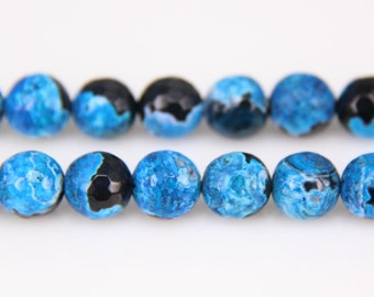 "6-12mm 15.5"" Black Sky Blue Agate Round Beads, Black Onyx Round Beads,Semi-precious Stone, DIY beads Gemstone Supply More size for choice"