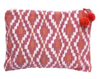Pink & Orange Ikat Make Up Bag with Pom Pom Zipper