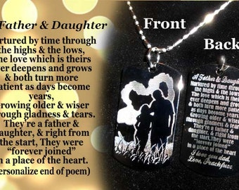 Father and Daughter Dog tag Necklace or Key Chain + FREE ENGRAVING