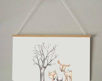 WOODLAND FRIENDS BANNER /  Kids Room Decor/ Kids Wall Art / Nursery Wall Art / Pennant /