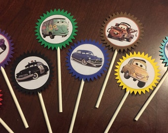 Cars Cupcake Toppers (8), Cars Birthday, Cars Party, Lightening McQueen
