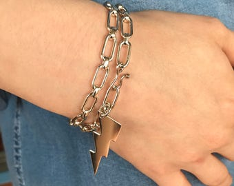 Sterling Silver heavy chain bracelet vintage 925 wrap around with lightning bolt charm