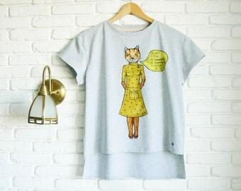 Fantastic Mr Fox T Shirt for Women Gray T shirt Fox Shirt Funny T shirts Hand painted T shirt Loose Fit