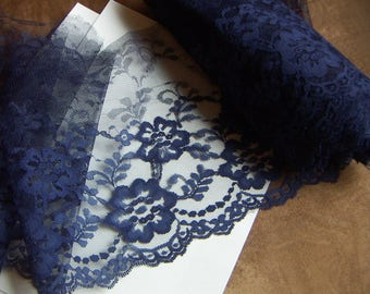 "Navy Blue Lace Trim 8"" Wide 3 or 5 yds. Lace Flower Wedding Bridal Wide Elegant Delicate Flat Lace Ribbon Fabric  Accessories"
