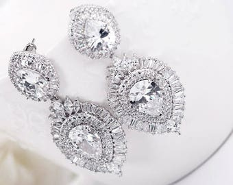 Bridal Earrings, Cubic Zirconia Earrings, Wedding Earrings, Statement Earrings, Drop Earrings, Chandelier Earrings, Bridal Jewellery Online
