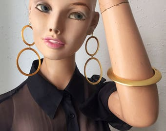 90s Kenneth Jay Lane, huge hoop earrings and bracelet