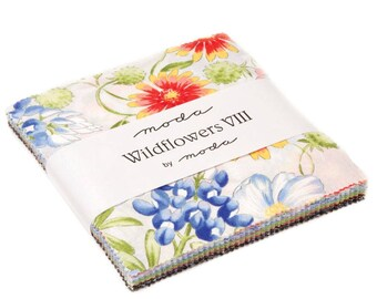 """Moda WILDFLOWERS VIII 42 5"""" Quilt Fabric Squares 33220PP Charm Pack"""