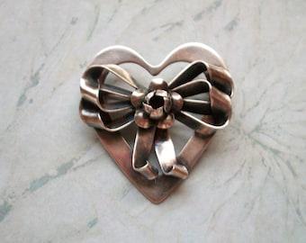 "VINTAGE Art Nouveau Sterling Silver Heart Bow Brooch,Signed Raffaele Sterling,12.7gr,ROSE,flowers,pin,patina,designer,1.75"" by 1.5"""