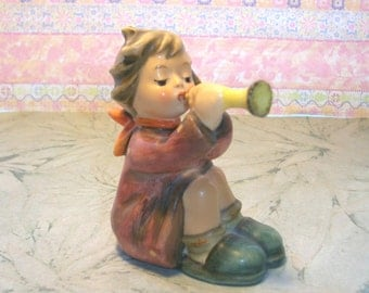 Vintage Goebel Hummel CHILD PLAYING TRUMPET figure,1953 figurine,by W. Goebel,W. Germany,No box,391,horn,girl