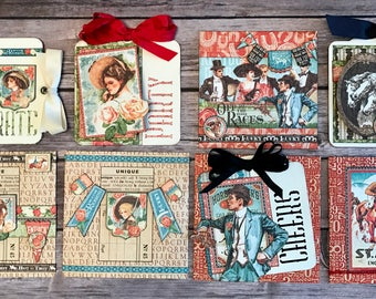 """G-45 """"Off to the Races"""" 4 Celebration Cards and 4 Coordinating Envelopes Card Kit Class"""