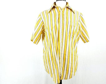 70s Mens Short Sleeve Oxford Shirt, Striped Button Up Shirt, Yellow Oxford Shirt, Multi Colored Button Down, Vintage Medium