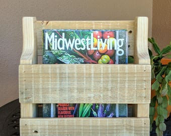 Unfinished Magazine Rack made from Rustic Reclaimed and Repurposed Pallet Wood