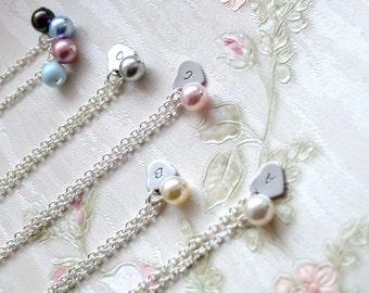 Custom Swarovski Personalized bridesmaid jewelry set of 7 seven Bridesmaid necklace Bridesmaid heart necklace Bridesmaid gifts