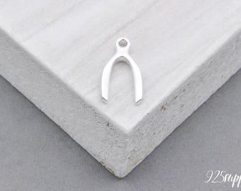 925 Sterling Silver Wishbone Charm, Silver Wishbone Charm, Bracelet Wishbone Charm, 925 Silver Charm, Sterling Silver Wishbone Charm