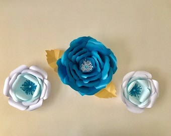 Large 3D flowers/ blue and white with rhinestones/ for room decorations, party decorations, baby showers, Quinceañera and all parties