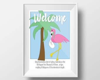 Welcome Baby Birth Poster Print Neon Flamingo A3