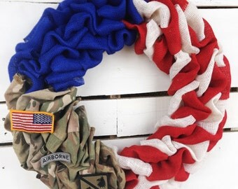 Military Wreath, Patriotic Wreath, Red White and Blue Wreath, Army Wreath, Navy Wreath, Marine Wreath, Airforce Wreath, Spring Wreath Burlap