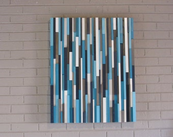 Nautical-wood wall art -modern wood wall art-art sculpture-wood art-ocean blues