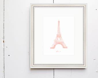 Oui Watercolor Print -  SMc. Originals, watercolor painting, Eiffel Tower, nursery decor, nursery art, French art print, Eiffel Tower art