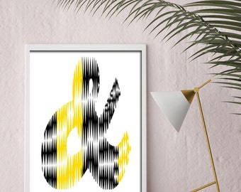 And,&, Printable Art, Black and Yellow, Digital Art, Instant Download, Love Home Decor, Print, Minimalist Art, Love Quote Print, Prints