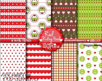 80%OFF - Red Riding Hood, Digital Paper, COMMERCIAL USE, Printable Paper, Planner Accssories, Cute Paper, Kawaii Digital Paper, Pattern