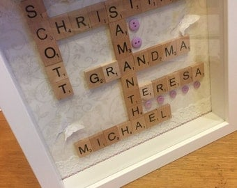 Personalised scrabble art frame/ gift/ wedding/ birthday/ Mother's Day/ family