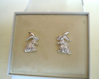 One pair of rabbit stud earrings in sterling silver