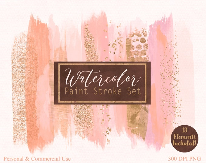 BRUSH STROKES Clip Art Commercial Use Clipart Watercolor Paint Stroke Blog Header Blush Peach & Rose Gold Confetti Watercolour Logo Graphics