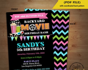 Movie backyard birthday bash invitation outdoor movie party chalkboard invite Instant Download YOU EDIT TEXT and print yourself invite 5727