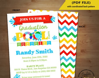 Graduation pool party bash invitation end of school pool party invite Instant Download YOU EDIT TEXT & print 5844