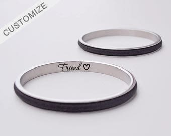 Hair Tie Bracelet Holder Personalized Gift Hair Tie Bangle Engraved Custom Friend Forever Bracelet Cuff Silver Gift For Her Mother's Day