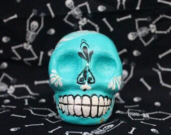 Ceramic  Sugar Skull / Calavera - Turquoise