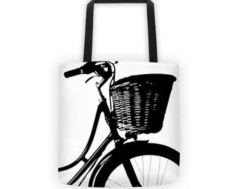 Bike and a Basket, All-Over Tote, Travel, Tote, Bicycle