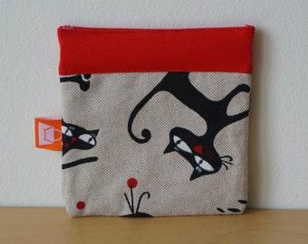 Handmade cat print purse