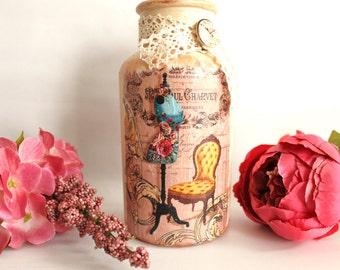 Decoupage jar, mothers day gift, vintage decor, flower vase, vintage look, home decor, gift ideas, decoupage bottle, vintage jar, glass vase