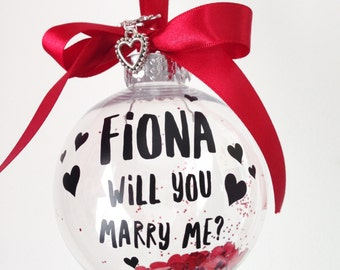 Valentines Gift, Personalised Bauble, Marry Me Bauble, Wedding Proposal, Hanging Decoration, Engagement Keepsake, Gift For Her, Gift For Him