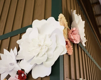 Giant Paper Peony Flower | PreMade | XXL White Flower  | Wedding Party Home decorations | FREE SHIPPING