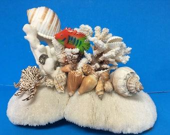 SHELL & CORAL CREATIONS, Hand Crafted, Coral, Shells, Rose Quartz Ocean Decor, Beach Theme, Nautical, Beach, Sea Life, Salt Life, Ocean Cora