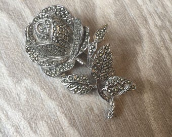 Lovely vintage marcasite rose silver tone brooch
