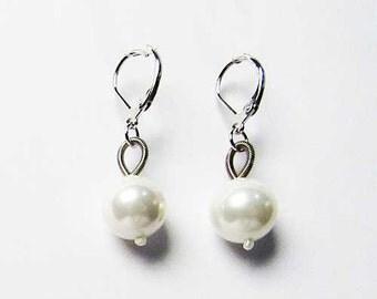 White Fresh Water Pearl Piano Wire Earrings