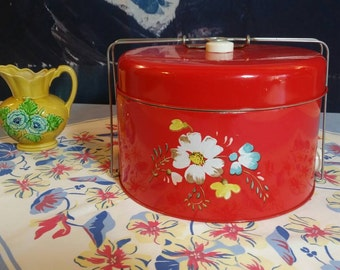 Vintage Red Cake Carrier With Flowers