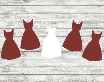 Bridal Party Decals | Bride | Bridesmaid | Dress Decals
