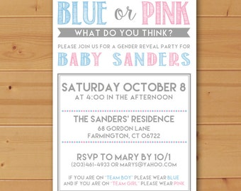 Gender Reveal Invitation, Blue or Pink Invitation, Gender Reveal Party, Boy or Girl invitation, Gender Reveal,Blue or Pink what do you think