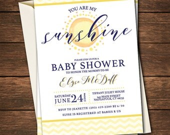 You Are My Sunshine Baby Shower Invitation | You Are My Sunshine Baby Shower  |You