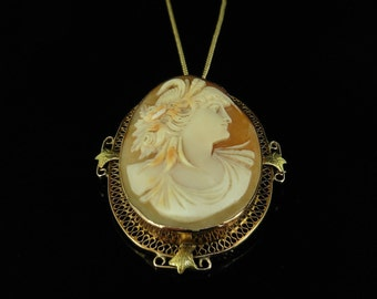 Antique Gold Shell Cameo Brooch Pendant